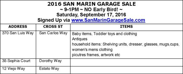 San Marin Garage Sale Table